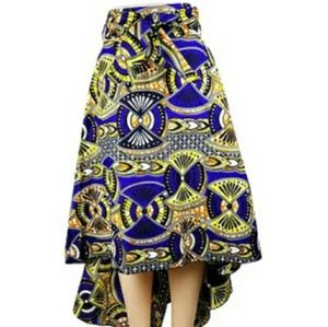 Royal blue and yellow asymmetrical high/low skirt